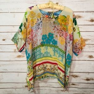 Johnny Was Floral Geometric Pattern Draped Top